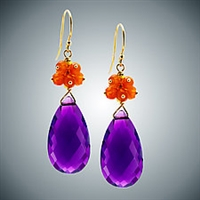 Judy Bliss Amethyst teardrop and Carnelian Earrings