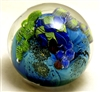 "Josh Simpson 3 1/2"" Inhabited Mega Planet Glass Paperweight 11-1-19"