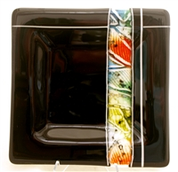 "Kristy Sly 9 1/2"" x 9 1/2"" Black Magma Strip Fused Glass Plate"