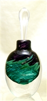 Loretta Eby Hand Blown Glass Black Green Aurora Perfume