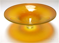 Laurie Thal Medium Opaque Iris Yellow Hand Blown Glass Bowl