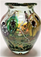Paul Counts Hand Blown Glass Small Open Color  Ocean Vase