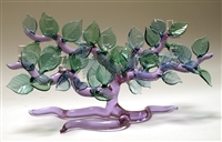 Bandu Dunham Tree of Life Menorah with Purple Tree and Green Leaves