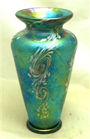 Bryce Dimitruk Hand Blown Glass Small Turquoise Swirl Vase