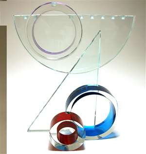 Faye Miller Large Abstract Glass Menorah