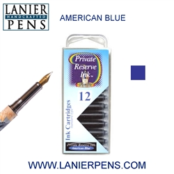Private Reserve American Blue 12 Pack Cartridge Fountain Pen Ink C25 - Lanier Pens