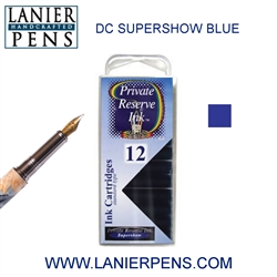 Private Reserve DC Supershow Blue 12 Pack Cartridge Fountain Pen Ink C23 - Lanier Pens
