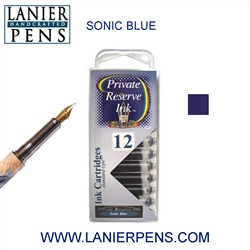 Private Reserve Sonic Blue 12 Pack Cartridge Fountain Pen Ink C17 - Lanier Pens
