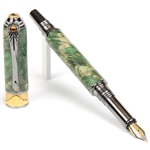 Art Deco Fountain Pen - Green Maple Burl