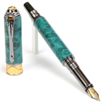 Art Deco Fountain Pen - Turquoise Box Elder