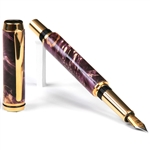 Baron Fountain Pen - Purple Box Elder Burl