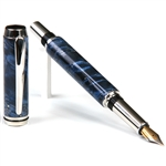 Baron Fountain Pen - Blue Box Elder Burl