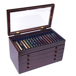 Mahogany Pen Chest with Glass Top - 76 Pens