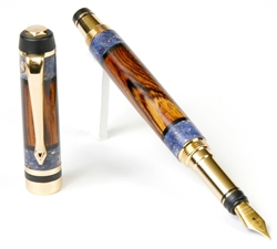 Classic Elite Fountain Pen - Cocobolo with Blue Box Elder Inlays