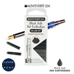 Monteverde G305BA Ink Cartridges Clear Case Gemstone Black Ash- Pack of 12