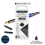 Monteverde G305BB Ink Cartridges Clear Case Gemstone Blue/Black- Pack of 12