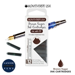 Monteverde G305BS Ink Cartridges Clear Case Gemstone Brown Sugar- Pack of 12