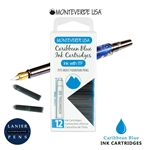 Monteverde G305CU Ink Cartridges Clear Case Gemstone Caribbean Blue- Pack of 12