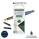 Monteverde G305EG Ink Cartridges Clear Case Gemstone Emerald Green- Pack of 12