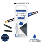 Monteverde G305HB Ink Cartridges Clear Case Gemstone Horizon Blue- Pack of 12