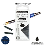 Monteverde G305MB Ink Cartridges Clear Case Gemstone Midnight Black- Pack of 12