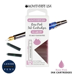 Monteverde G305RP Ink Cartridges Clear Case Gemstone Rose Pink- Pack of 12