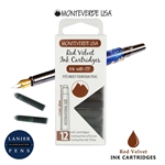 Monteverde G305RV Ink Cartridges Clear Case Gemstone Red Velvet- Pack of 12