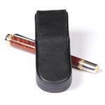 Aston Leather Pen Box Round – Black Double