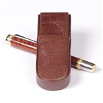 Aston Leather Pen Box Round – Brown Double