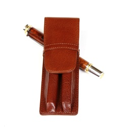 Aston Leather Pen Holder – Brown Double