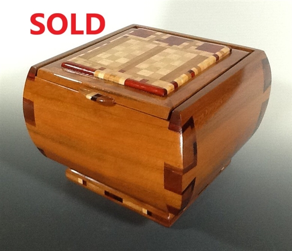 wenge and bloodwood Cherry jewelry box with maple