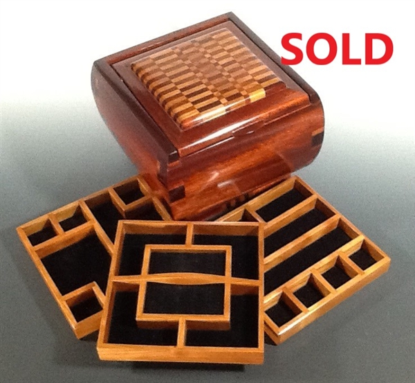 Jewelry Box with Cherry Wood Inlays