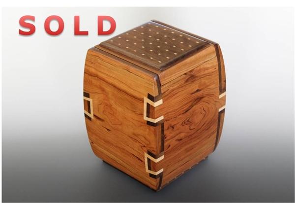 Figured Cherry Jewelry Box with Walnut Dovetail Inlays and four