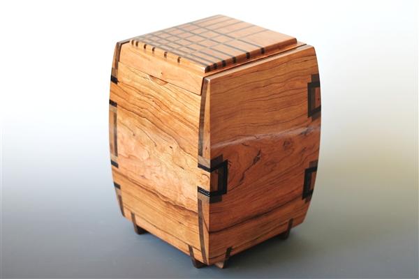Figured Cherry Wood Jewelry Box with Walnut and Wenge Inlays 4