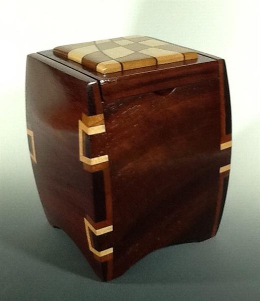 Jatoba Wood Jewelry Box with Cherry and Maple Dovetail Inlays 4