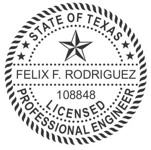 Texas Professional Engineer Round Self Inking Stamp 1 5 8 Diameter