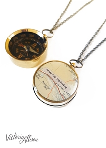 Large Compass Necklace, Never Stop Exploring, or Personalized Quote, Vintage Map, Working Compass, Graduation, Inspirational, Motivational