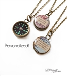 Small Working Compass Necklace with Custom Map and Personalized Quote - Glow in the Dark Navigation