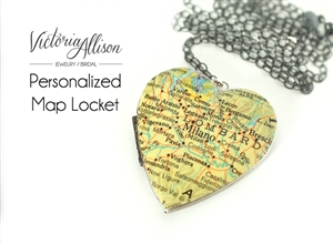 Custom Large Silver Map Heart Locket Necklace on Sterling Silver Chain