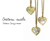 Custom Small Brass Map Heart Locket Necklace on Brass Chain