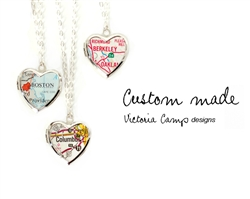 Custom Small Silver Map Heart Locket Necklace on Sterling Silver Chain