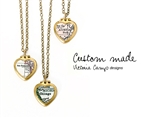 Custom Tiny Brass Map Heart Locket Necklace on Antiqued Brass Chain