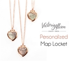 Custom Tiny Rose Gold Map Heart Locket Necklace on Rose Gold Chain