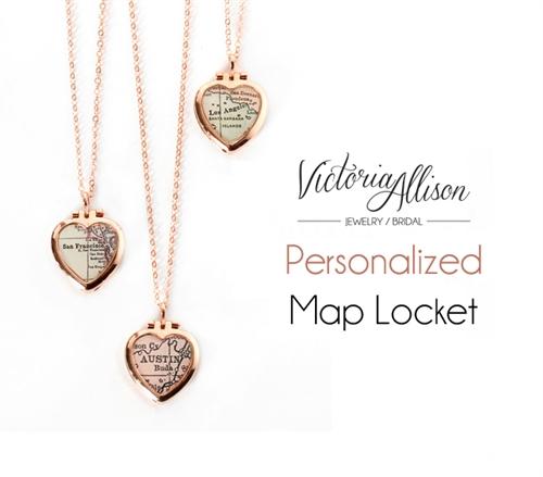 2de6760b40d08 Custom Tiny Rose Gold Map Heart Locket Necklace on Rose Gold ...