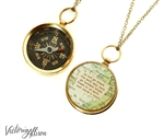 Working Compass Necklace with Vintage Map and Emerson or Personalized Quote - Do Not Go Where the Path May Lead