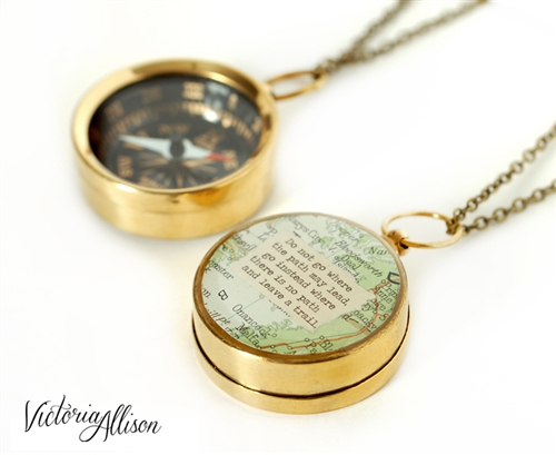 Working Compass Necklace With Vintage Map And Emerson Or