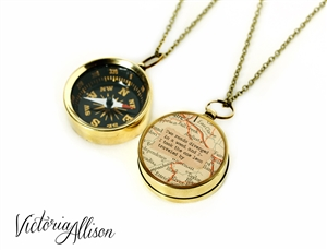 Working Compass Necklace with Vintage Map and Robert Frost Quote - The Road Not Taken
