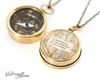 Working Compass Necklace with Vintage Map and Thoreau or Personalized Quote - Go Confidently In the Direction of Your Dreams