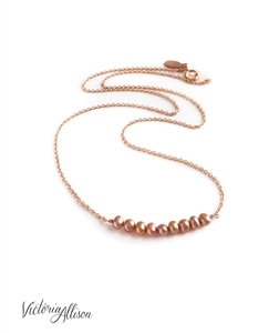 Rose Gold Pearl Necklace, Layering Necklace, Blush Pink, Peach, Delicate, Freshwater Pearls, Gift for Her, Mother's Day Gift