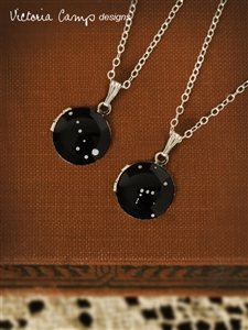 Custom Silver Hand-Painted Zodiac Constellation Necklace on Vintage Tiny Locket